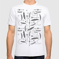 Feather & Arrow Pattern Mens Fitted Tee Ash Grey SMALL