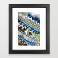 blue champagne glasses pyramid wedding table arrangement Framed Art Print