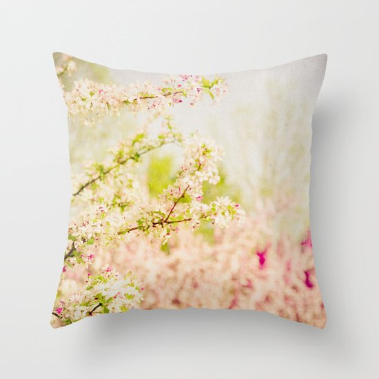 Country Lane Flowers Throw Pillow
