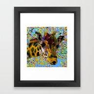 Framed Art Print featuring Giraffe So Pretty Oil Pa… by Saundra Myles