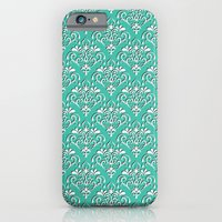 iPhone & iPod Case featuring damask pattern torquoise with shadow by ravynka