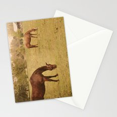 Three Horses Grazing.  Horse Photograph.  Landscape and Nature Photo. Wisconsin Stationery Cards