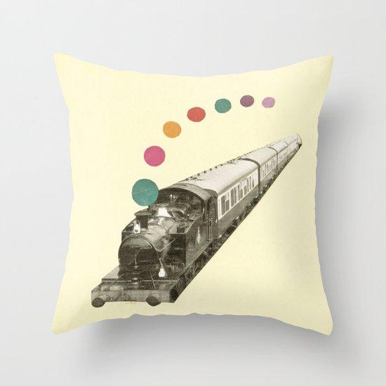 Rainbow Train Throw Pillow