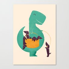 T-Rex and his Basketful of Wiener Dogs Canvas Print