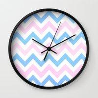 Blue Pink Textured Vintage Chevron Wall Clock