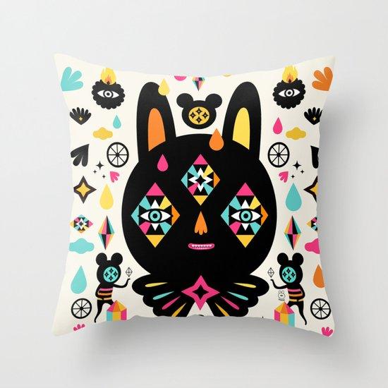 Rainbow Bunny Throw Pillow