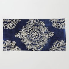 Cream Floral Moroccan Pattern on Deep Indigo Ink Beach Towel