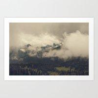 Mountains Through The Fo… Art Print