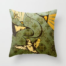 analog zine - song bird Throw Pillow