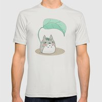 Floral Totoro Mens Fitted Tee Silver SMALL