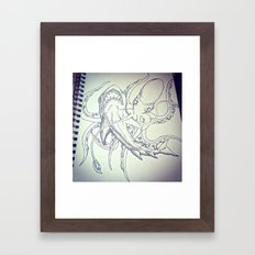 Octopus v. Shark  Framed Art Print
