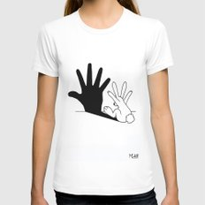 Rabbit Hand Shadow Womens Fitted Tee White MEDIUM