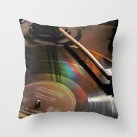 Vinyl Rainbow Throw Pillow