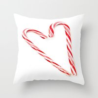 Candy Cane Love Throw Pillow