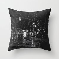 RAINY BOKEH B&W Throw Pillow