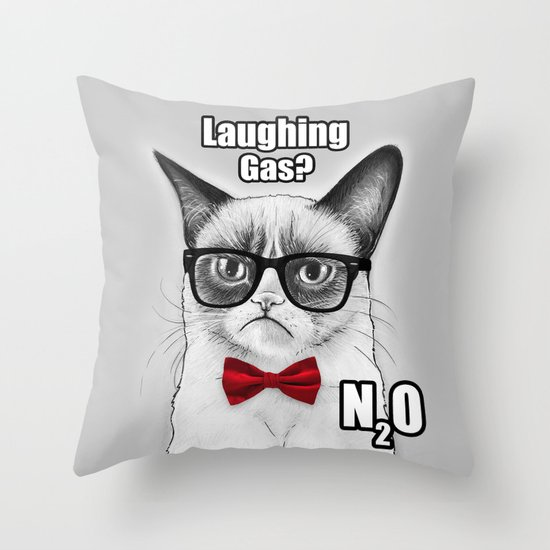 Grumpy Chemistry Cat Throw Pillow