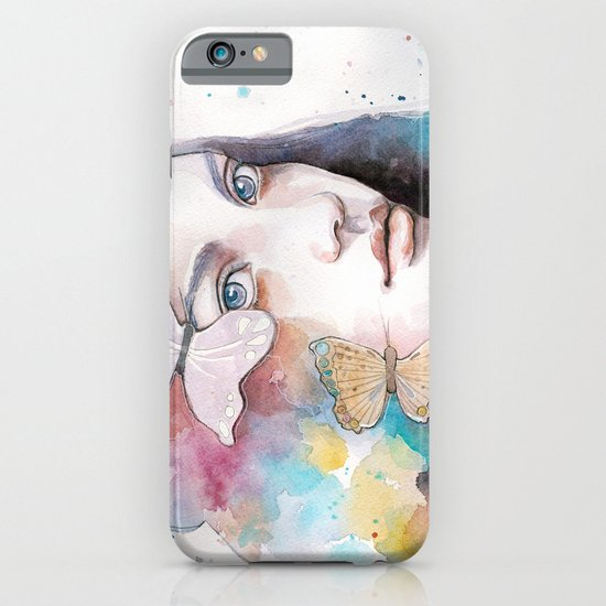 Lady with a butterfly iPhone & iPod Case