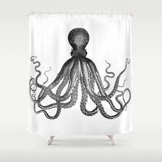 Antique Nautical Steampunk Octopus Vintage Victorian Kraken sea monster emo goth drawing Shower Curtain