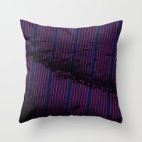 Red stripes on bold blue illustration. Throw Pillow