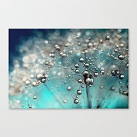 Ocean Blue  and White Dandy Drops Canvas Print