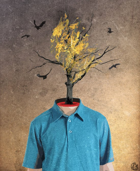 your mind is a burning tree Art Print