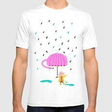one of the many uses of a flamingo - umbrella White SMALL Mens Fitted Tee