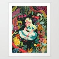 elephant Art Prints featuring Alice in Wonderland by Karl James Mountford
