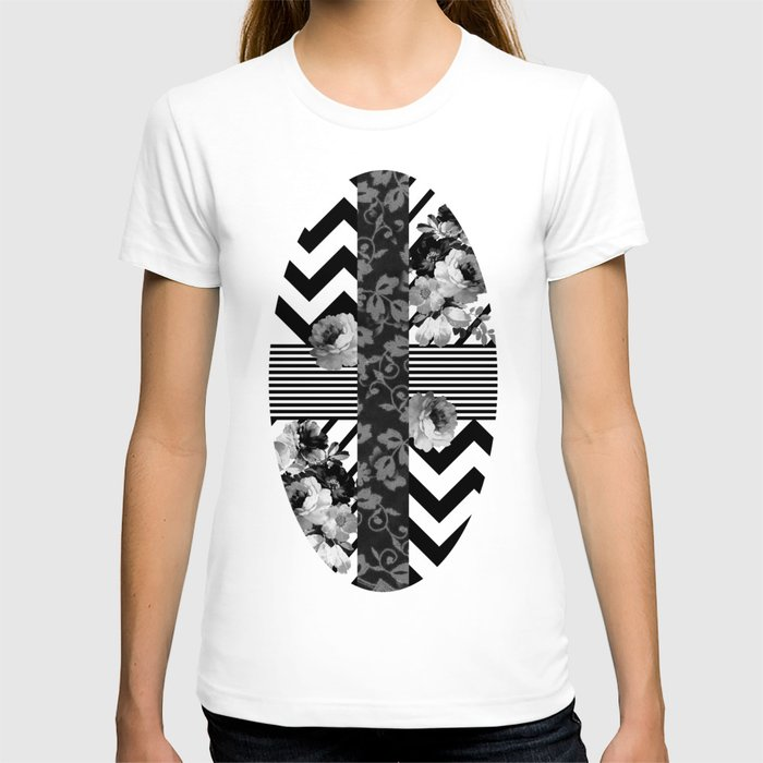 Trendy Black And White Floral Lace Stripes Chevron T Shirt