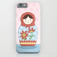 iPhone & iPod Case featuring Matryoshka Doll (red & blue) by Amanda Francey