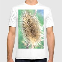 Thistle Head Watercolour Mens Fitted Tee White SMALL