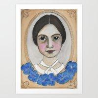 Emily Dickinson and the Geranium Blues Art Print