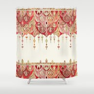 Royal Red Art Deco Doubl… Shower Curtain