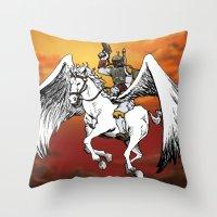 Boba Fett riding Pegasus Throw Pillow