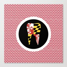 Red Chevron Tooth Canvas Print