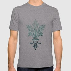 Fleur De Lis - French - Blue Mens Fitted Tee Athletic Grey SMALL