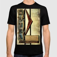 Vintage Arrow Motel Sign Mens Fitted Tee Black SMALL