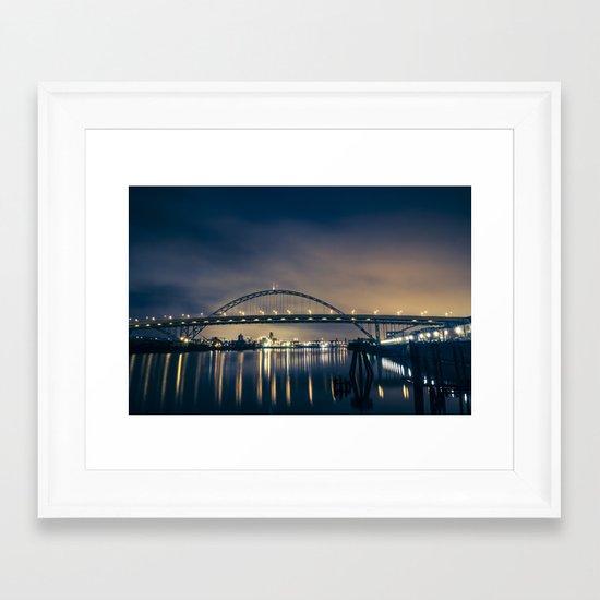 Fremont Bridge at Night Framed Art Print