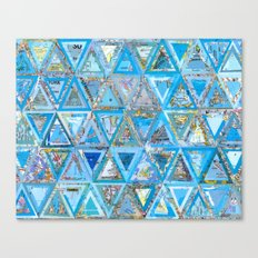 Blue Triangle Map Collage Canvas Print