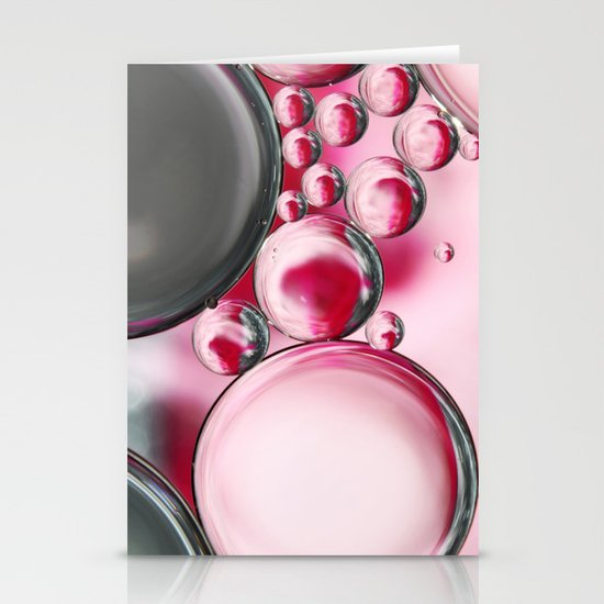 Rose & Grey Bubble Abstract Stationery Card