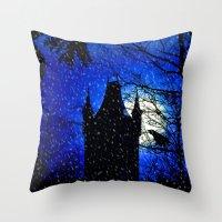 Snowfall At Full Moon Throw Pillow