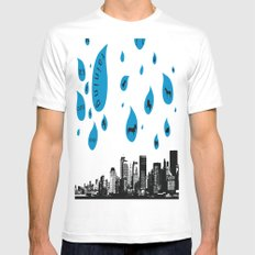 Raining Cats & Dogs White SMALL Mens Fitted Tee