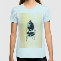 Curieux Womens Fitted Tee Light Blue SMALL
