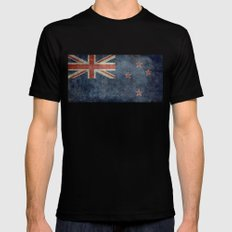 National flag of New Zealand - Retro vintage version to scale Black Mens Fitted Tee SMALL