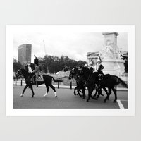 The Guards with their Horses b&w 4 Art Print