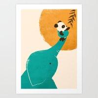 Panda's Little Helper Art Print