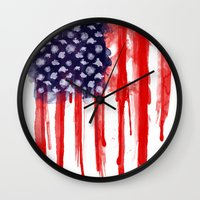 American Spatter Flag Wall Clock