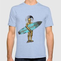 Space Surfer Mens Fitted Tee Tri-Blue SMALL