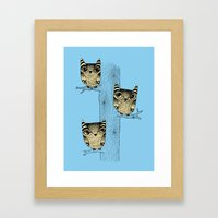 Owls (blue) Framed Art Print