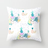 Fruiti tutti. Fruit, illustration, pattern, print, pineapple,  Throw Pillow