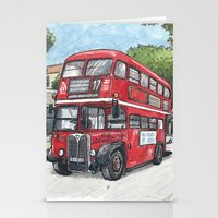 red bus in davis Stationery Cards